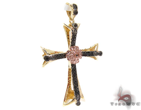 Two Tone Gold Round Cut Prong Bezle Black Diamond Cross Style