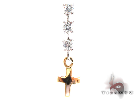 Two Tone Gold Round Cut Prong Diamond Cross Pendant Style