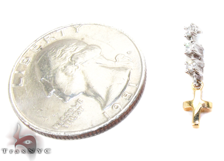 Two Tone Gold Round Cut Prong Diamond Cross Pendant Style