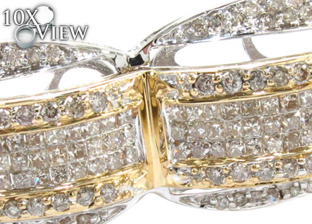 Two Tone Gold Round Princess Cut Prong Invisible Diamond Bangle Bracelet Bangle