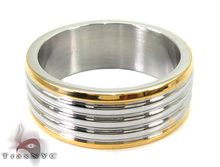 Cheap Mens Yellow and White Sandwich Ring Metal