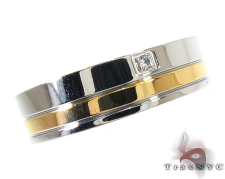 Cheap Mens CZ Over Two Tone Ring Metal