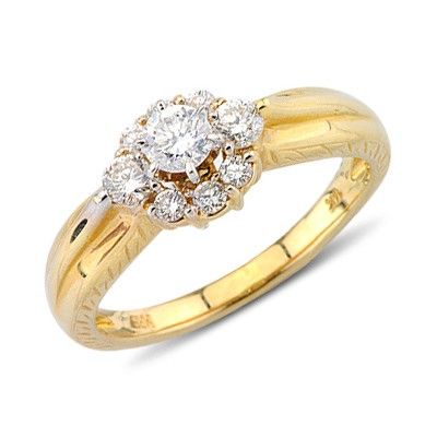 vibrant cut promise ring in 14k yellow gold