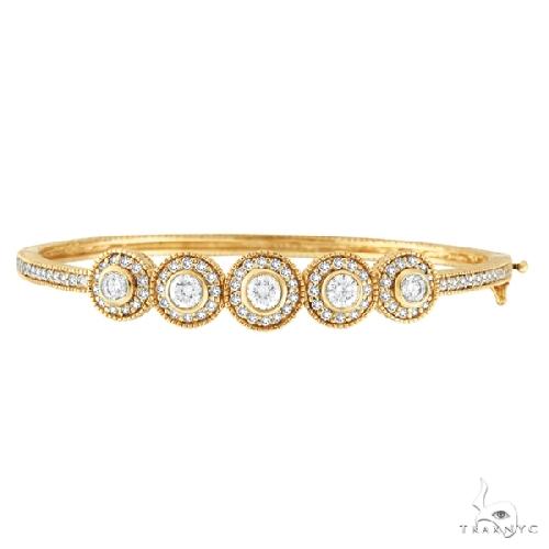 Vintage Style Diamond Bangle Bracelet 18K Yellow Gold Diamond