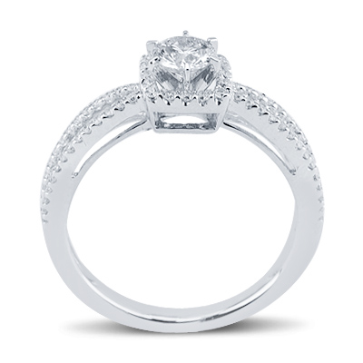 Vivid Round Cut Two Row  Diamond Square Promise Ring In 14K White Gold Engagement
