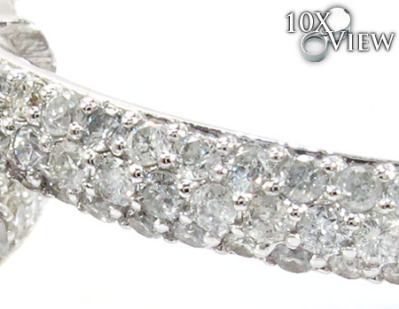 WG Three-Row Diamond Hoops Stone