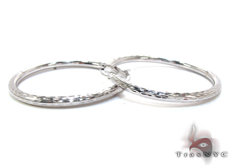 White 14K Gold Hoop Earrings Metal