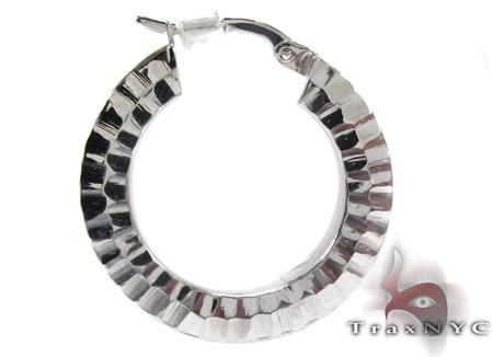 White 14K Gold Hoop Earrings Metal