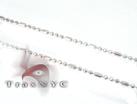 White Beaded Hammer Chain 20 Inches, 1mm, 1.8 Grams Gold