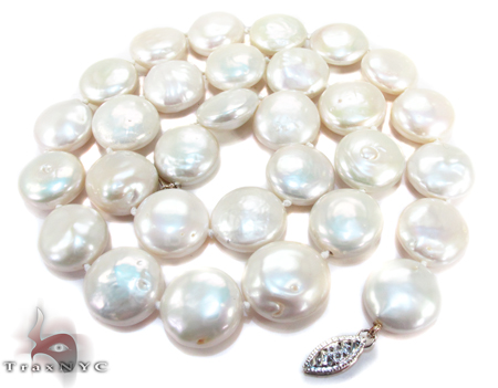 White Coin Pearl Necklace 27176 Pearl