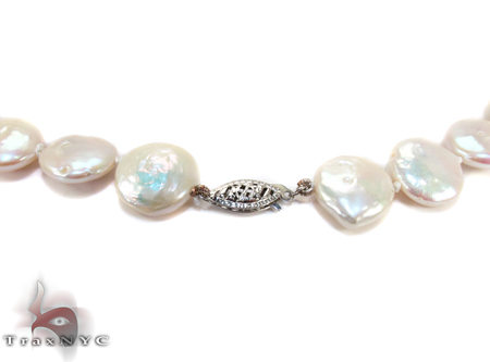 White Coin Pearl Necklace 27177 Pearl