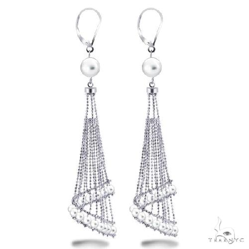White Freshwater Chandelier Pearl Earrings in Sterling Silver Stone
