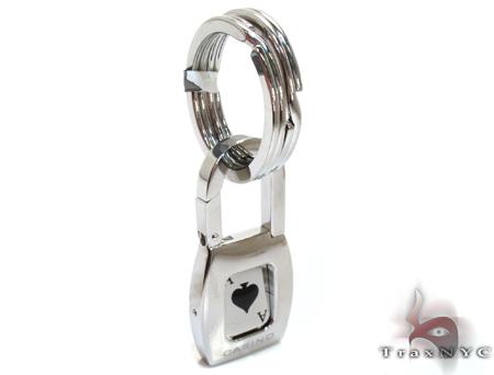 White Gold and Stainless Steel Baraka Casino Key Chain Metal