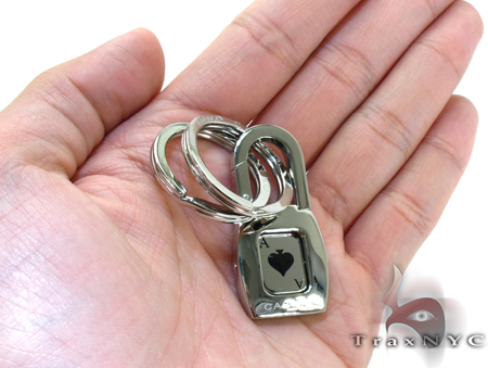 White Gold and Stainless Steel Baraka Casino Key Chain Metal