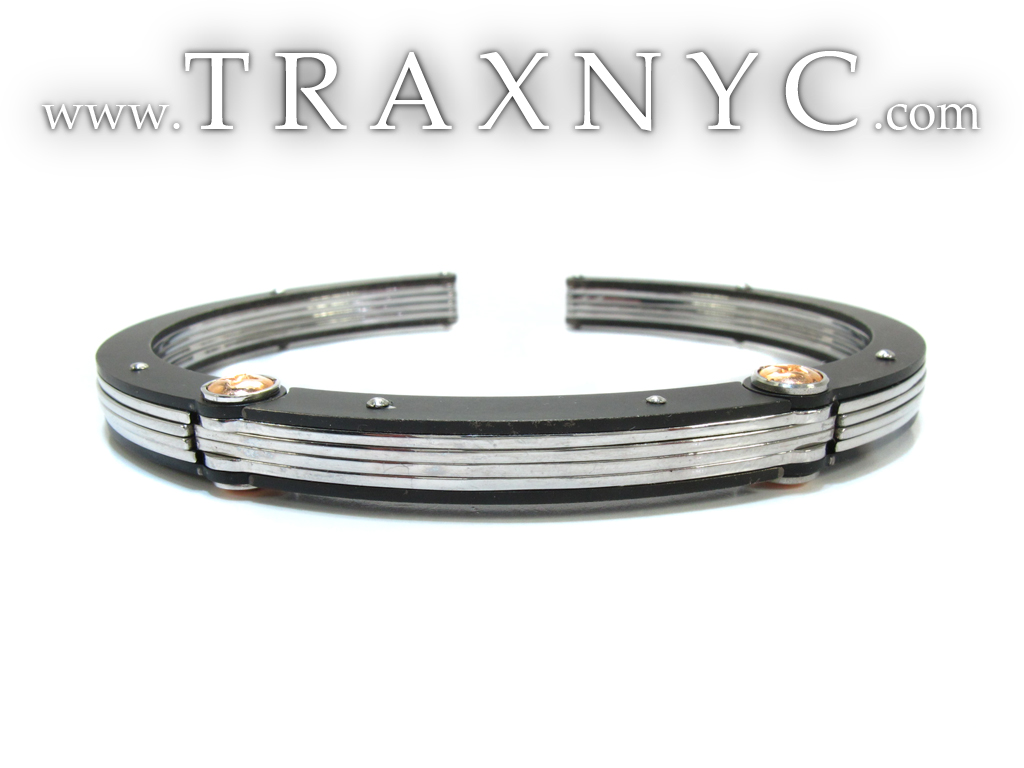 White gold and stainless steel baraka mens bracelet 23460 for Do pawn shops buy stainless steel jewelry