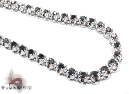 White Gold Black Diamond Chain 20 Inches 5mm 38.7 Grams Diamond