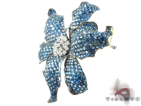 White Gold Blue Shades Sapphire & Diamond Exotic Flower Brooch Stone