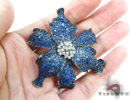 White Gold Blue Shades Sapphire & Diamond Exotic Flower Brooch Stone
