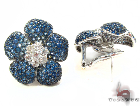 White Gold Light Blue Shades Sapphire & Diamond Flower Earrings Stone