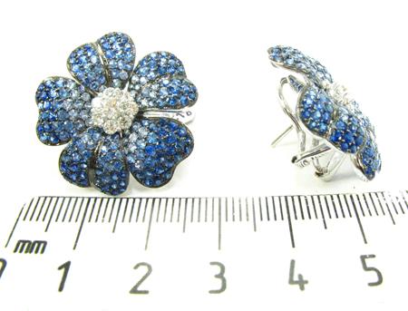 Blue Shades Sapphire & Diamond Flower Earrings Stone