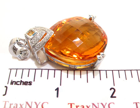 White Gold Diamond Citrin and Sapphire Pendant Stone