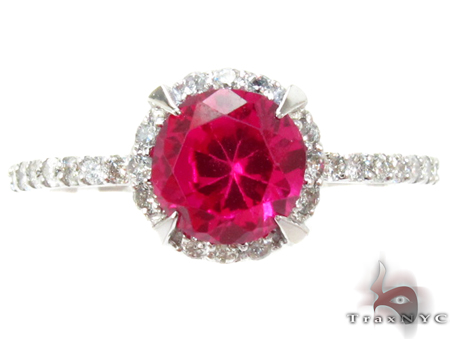 White Gold Pink Tourmaline & Diamond Ring Anniversary/Fashion