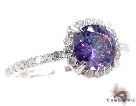 White Gold Amethyst & Diamond Ring Anniversary/Fashion
