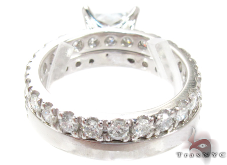 White Gold Princess Round Cut Prong Diamond Wedding Ring Set Engagement