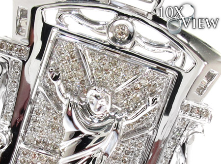 White Gold Round Baguette Cut Prong Channel Bezel Diamond Jesus Pendant Metal