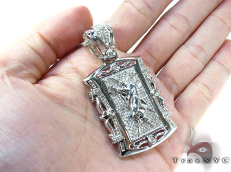 White Gold Round Baguette Cut Prong Channel Bezel Diamond Jesus Pendant Metal