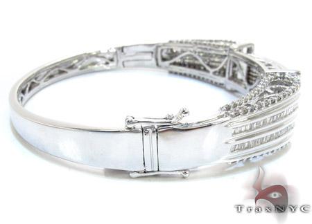 White Gold Round Princess Cut Prong Invisible Diamond Bangle Bracelet Diamond
