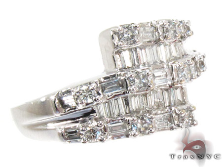 White Gold Round Baguette Cut Prong Channel Diamond Ring Anniversary/Fashion