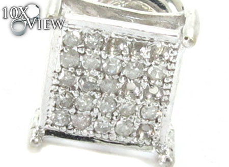 White Gold Round Cut Micro Pave Diamond Single Earring Style