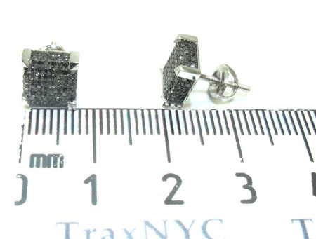 White Gold Round Cut Pave Black Diamond Earrings Stone
