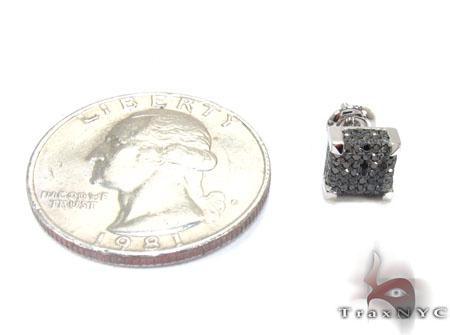 White Gold Round Cut Pave Black Diamond Earrings Stone