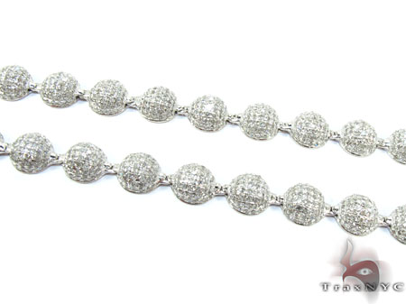 White Gold Round Cut Pave Diamond Chain 26 Inches 6mm 33 Grams Diamond