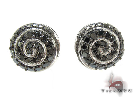 White Gold Round Cut Prong Black Diamond Earrings Stone