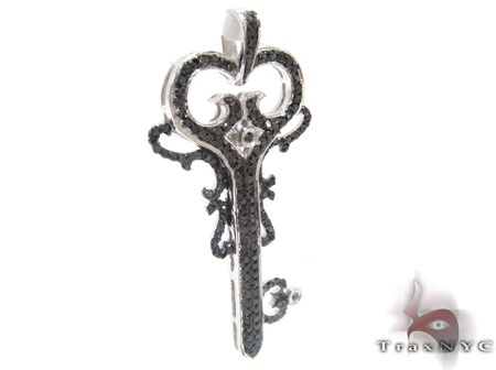 White Gold Round Cut Prong Black Diamond Key Pendant Style