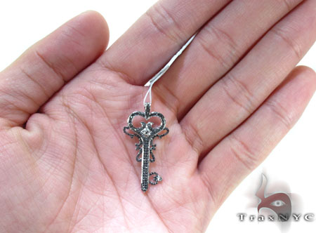 White Gold Round Cut Prong Black Diamond Key Pendant Style