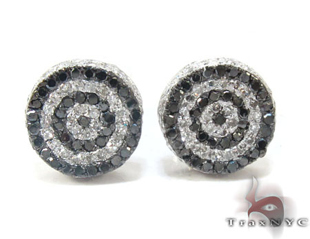 White Gold Round Cut Prong Black White Diamond Earrings Mens Diamond Earrings