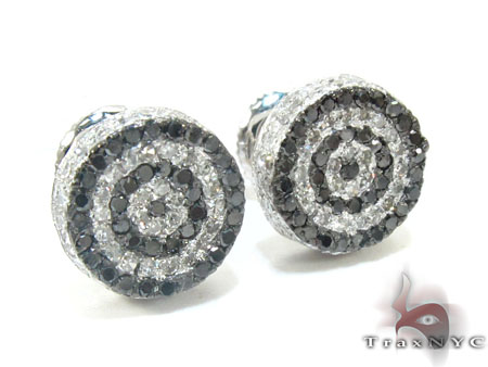 White Gold Round Cut Prong Black White Diamond Earrings Stone