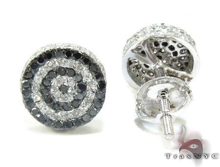 White Gold Round Cut Prong Black White Diamond Earrings Stone
