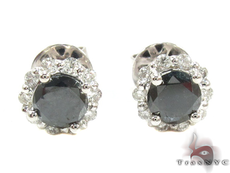 White Gold Round Cut Prong Black and White Diamond Earrings Stone