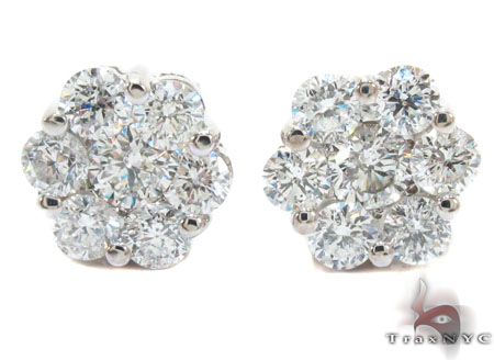 White Gold Round Cut Prong Diamond Cluster Earrings Style