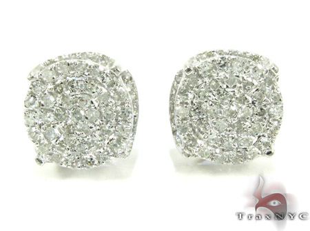 White Gold Round Cut Prong Diamond Earrings 25237 Stone