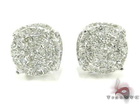 White Gold Round Cut Prong Diamond Earrings 25237 Stone