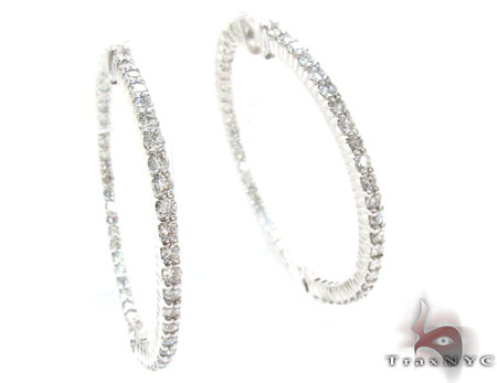White Gold Round Cut Prong Diamond Hoop Earrings Style