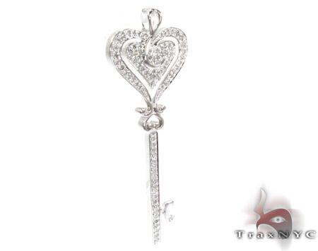 White Gold Round Cut Prong Diamond Key Pendant Style