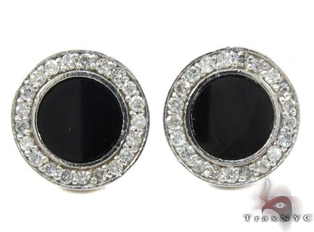 White Gold Round Cut Prong Diamond Onyx Earrings Stone