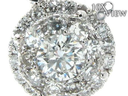 White Gold Round Cut Prong Diamond Pendant Stone